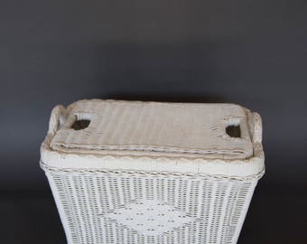 Vintage White Wicker Woven Basket with Top