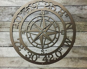 GPS Coordinates | Nautical Compass | metal wall art | Wall Decor | latitude longitude sign | GPS sign | coordinates sign | address sign
