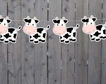 Cow Garland, Cow Banner, Cow Birthday, Farm Birthday, Cow Party Supplies