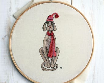 Dog embroidery design, dog embroidery pattern, Christmas embroidery designs, Christmas embroidery patterns, Weimaraner art, pdf embroidery