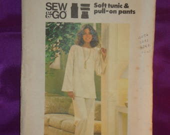 1970s 70s Vintage BoHo Loose Fit Tunic with Long Bell Sleeves n Wide Leg Pants UNCUT Butterick Pattern 4554 Bust 34 36 US 87 92 Metric EASY