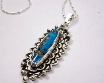 Turquoise Sunburst Necklace, Sterling silver, hand stamped, southwestern necklace.