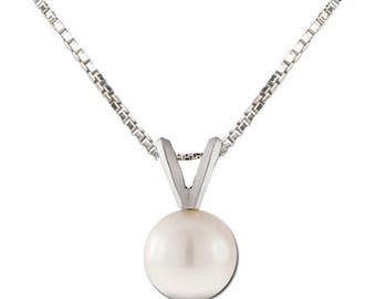 White Pearl Sterling Silver Charm Necklace for Girls with Gift Box (TCN-Pearl-White)