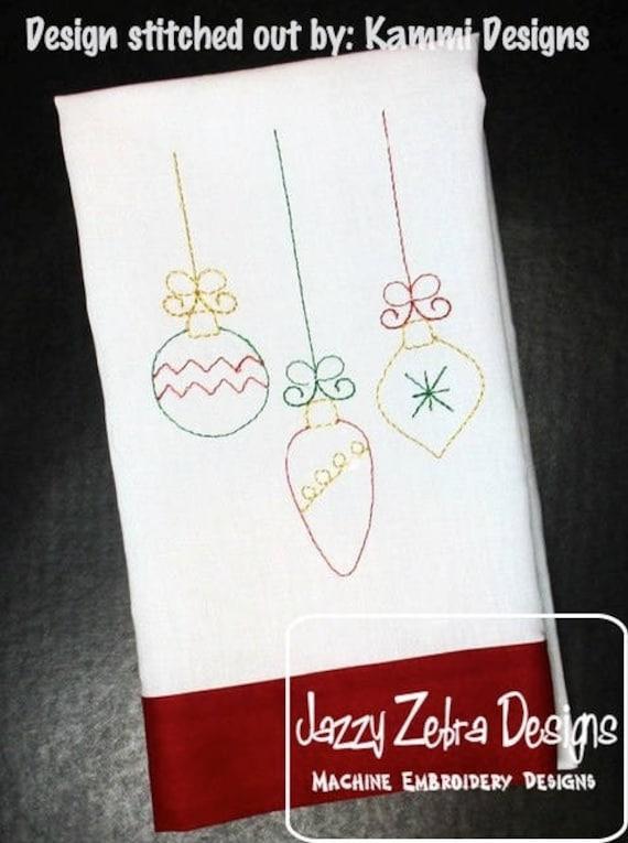 Ornament trio color work embroidery design - Ornament embroidery design - Christmas embroidery design - color work embroidery design
