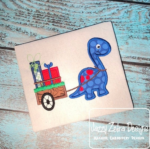 Dinosaur pulling cart with gifts appliqué embroidery design - dinosaur appliqué design - Christmas appliqué design - birthday appliqué