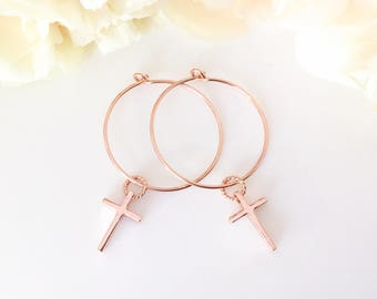 Rose Gold Earrings Gold Hoop Earrings Cross Earring Rose Gold Hoop Earrings Cross Earrings Rose Gold Hoops Religious Jewelry Christian Gift