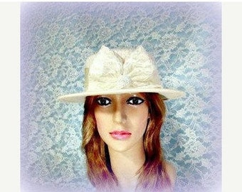 Womens Sailor Hat, Womens 1930 Gatsby Hat, Ivory Wool Sequins Satin Lace