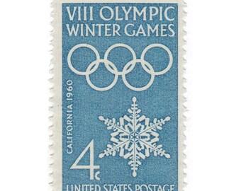10 Unused Vintage Postage Stamps - 1960 4c Olympic Winter Games - Item No. 1146