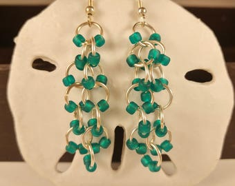 Teal Dangling Beaded Chainmaille Earrings