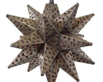 """Moravian Star Light, Flower Pierced Tin, Bronze, 12"""""""