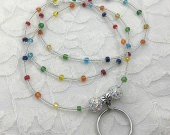 Rainbow beaded lanyard, Rainbow beaded ID badge holder lanyard, Handmade beaded lanyard, Colorful ID lanyard