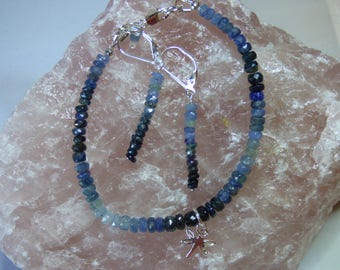 Shades of Blue Sapphire. Sterling Silver Bracelet and Earrings.