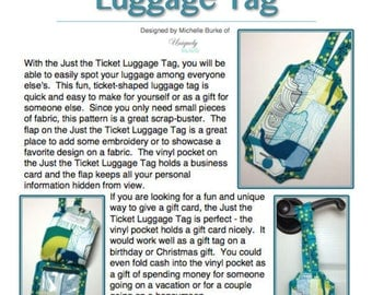 The Just the Ticket Luggage Tag PDF Pattern