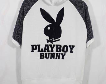 Vintage Playboy Embroidered Big Bunny Rabbit Head Hoodie Sweater Size Large L / playboy sweater / plaboy sweatshirt / playboy shirt