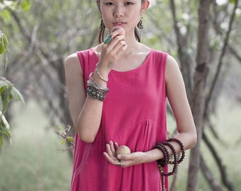 Sleeveless Dress - Ample tunic - Asymmetrical base - Neck Round - Spring / Summer dress - Linen dress - Made to order
