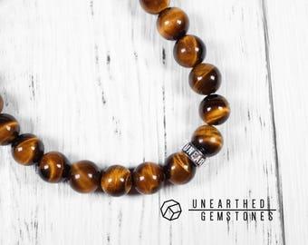 Mens Bracelet - Tiger Eye Bracelet, Meditation Bracelet, Husband Gift, Boyfriend Gift, Stone Bracelet, Energy Bracelet