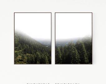 Set of 2 Prints Pine Tree Wall Decor Nordic Print Poster Scandinavian Landscape Wild Nature Wilderness Green Minimalist Forest Misty 1005