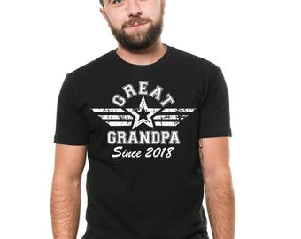 Great Grandpa Since 2018 T-Shirt Gift For Great Grandfather Family Shirts Birthday Gift Ideas Tee Shirt