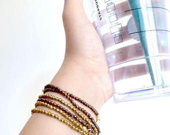 Hematite bracelet in genuine rose gold or gold plated