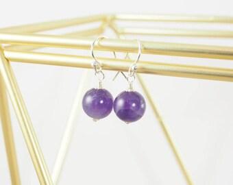 Sterling Amethyst Earrings, February Birthstone Earrings, Amethyst Gemstone Earrings, Modern Earrings, Simple Earrings, Purple Earrings