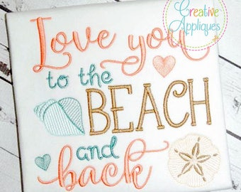 Wedding sayings etsy love you to the beach and back wedding digital machine embroidery design 4 sizes wedding junglespirit Images