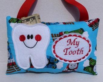 Tooth Fairy Pillow - Boys Tooth Fairy Pillow - Personalized Tooth Fairy Pillow - Thomas Tooth Fairy Pillow - Train Fabric - Tooth Fairy Dust