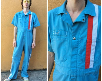 Men's Workwear Coveralls Jumpsuit Vintage Flight Mechanic / 50s 60s Work Wear Coverall United Airlines Uniform