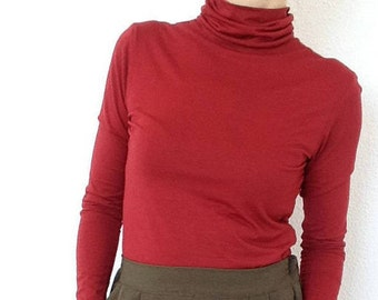 Red Elastic Cotton Poloneck