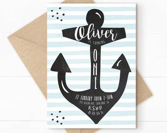 First birthday invitation, nautical birthday, nautical invitation, anchor invitation, nautical first birthday, boy invitation