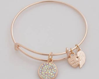 AA1024A  Sparkly Rainbow Pave Crystal Adjustable Wire Bracelet w Angel Wing & Heart Metal Charms ~ GoldTone