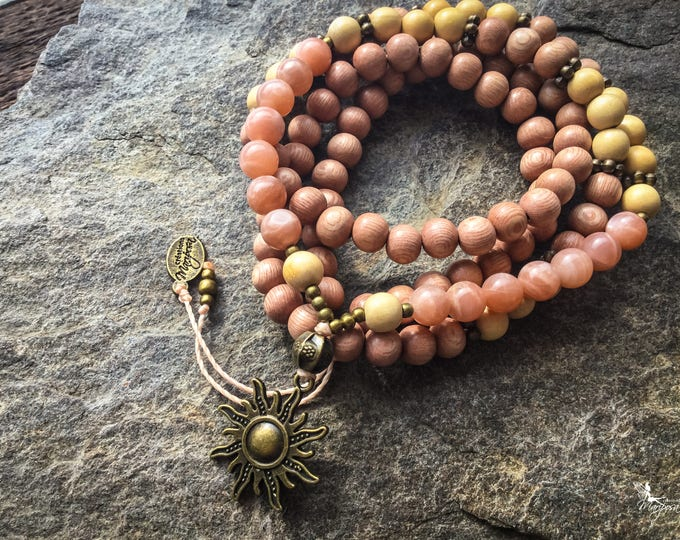 Sun Stone meditation Mala beads japa 108 beads for your mantras - inspired jewelry by Creations Mariposa