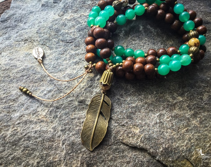 Feather meditation Mala beads with Aventurine and Agate japa 108 beads for your mantras - inspired jewelry by Creations Mariposa