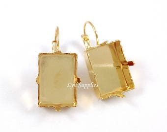 Gold Rectangle Step Cut Earrings Settings, Fit Swarovski Crystal 18x13mm 4527 Nickel Free