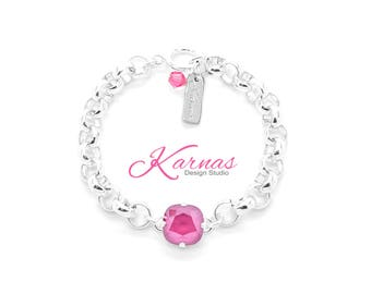 PEONY PINK CHAIN 12mm Single Stone Bracelet Made With Swarovski Crystal  *Pick Your Finish *Karnas Design Studio *Free Shipping*