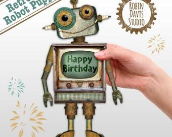 Printable Robots, Robot Download,  Retro robot party,  Paper craft robot, Retro Robot wall art, Retro Robot clip art, Robin DavisStudio