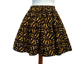 Batman Logo Skirt Unlined Elasticated Cotton Ready To Ship