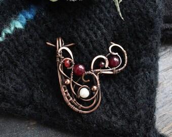 Shawl Pin Cardigan closure Sweater Pin Garnet Pearl brooch Copper pin Gemstone Wire wrap brooch Knitting accessory  heart brooch