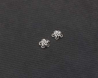 4Pcs 10mm Sterling Silver Beads Caps -- 925 Silver Charms Wholesale For Bridesmaid Gift Party YX-Y629-S09