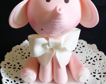 Elephant Cake Topper, Baby Elephant Topper, Pink Gray Elephant Cake Topper, Jungle Baby Shower, Baby Elephant Pink, Elephant Cake Decoration