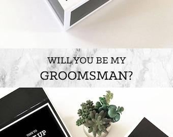 Groomsmen Gift Box Groomsmen Proposal Will You Be My Groomsman Box Groomsmen Box Gifts for Groom Dad Father  (EB3193BPW) EMPTY inside