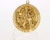 14K Gold Saint Christopher Medallion