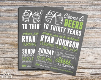 Cheers & Beers Birthday Party Invite  - Digital file/Printable