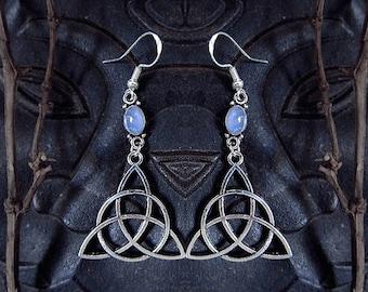 Trinity Knot Earrings, Celtic Earrings, Rainbow Moonstone Earrings, Mother Crone Maiden, Triquetra Earrings