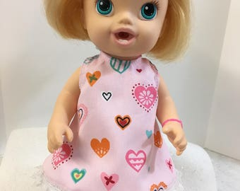 "BABY ALIVE 12 inch Doll Clothes, Adorable ""Enchanted HEARTS"" Pink Dress with Pretty Lace, 12 inch Baby Alive Doll Clothes, ""I Love My Doll!"