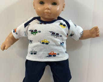 "BOY 15 inch Bitty Baby Clothes, 2-Piece Outfit, Cute ""TRUCKS"" - MATCHBOX Cars! Top, Navy Pants, 15 inch American Doll Bitty Boy"