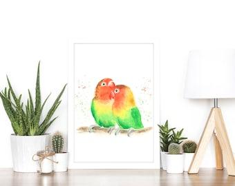 lovebirds print, tropical print, parrot print, lovebirds painting, bird art, lovebirds art, bird print, tropical wall art, tropical decor,