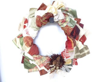 Free Shipping! Handmade Wreath made with Recycled Material Swatches with Decorative Pinecones