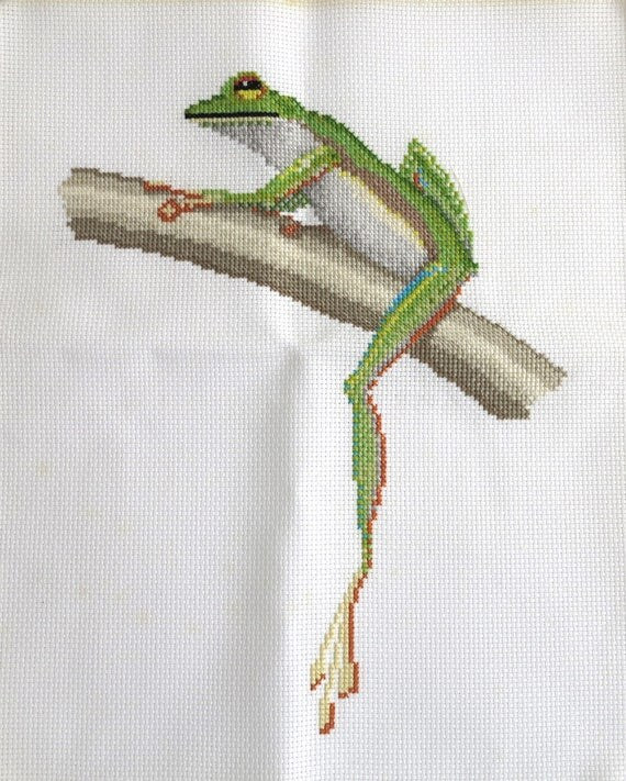 Embroidered green frog sitting on a tree, continental and cross stitch, hand embroidered, for framing or other craft purpose, 10 x 12.5 ins