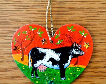 I Love Cows Christmas Ornament - Hand Drawn and Painted - One of a Kind