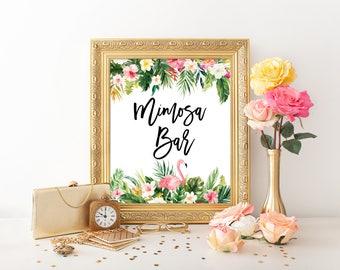 Mimosa Bar Printable Shower Sign, 8x10, Bridal Shower Bar Sign, Baby Shower, Momosa Bar Sign, Tropical Aloha Beach, TROP1